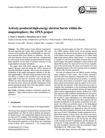 Actively Produced High-energy Electron B... by Přech, L.
