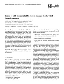 Bursts of Ulf Noise Excited by Sudden Ch... by Safargaleev, V.