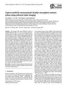Aspect Sensitivity Measurements of Polar... by Chilson, P. B.