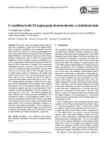 G Condition in the F2 Region Peak Electr... by Lobzin, V. V.