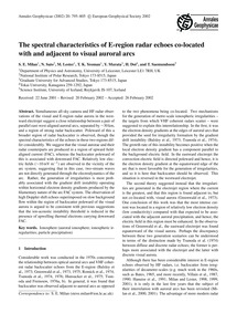 The Spectral Characteristics of E-region... by Milan, S. E.