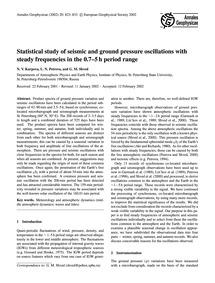 Statistical Study of Seismic and Ground ... by Karpova, N. V.