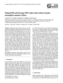 Finland Hf and Esrange Mst Radar Observa... by Ogawa, T.