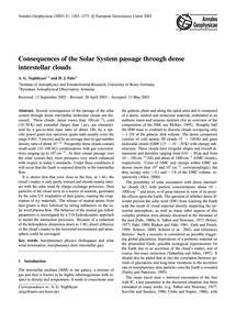 Consequences of the Solar System Passage... by Yeghikyan, A. G.
