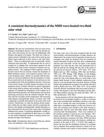 A Consistent Thermodynamics of the Mhd W... by Chashei, I. V.