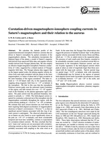 Corotation-driven Magnetosphere-ionosphe... by Cowley, S. W. H.