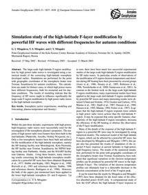 Simulation Study of the High-latitude F-... by Mingaleva, G. I.