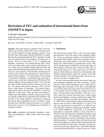 Derivation of Tec and Estimation of Inst... by Ma, G.