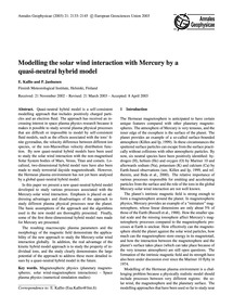 Modelling the Solar Wind Interaction wit... by Kallio, E.