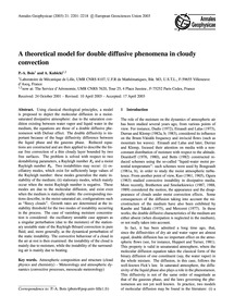 A Theoretical Model for Double Diffusive... by Bois, P.-a.
