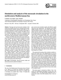 Simulation and Analysis of the Mesoscale... by Echevin, V.