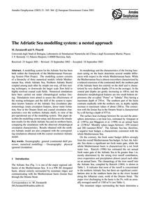 The Adriatic Sea Modelling System: a Nes... by Zavatarelli, M.