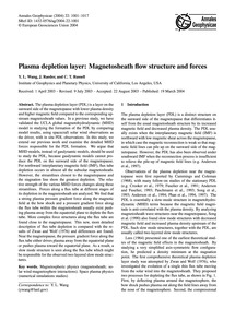 Plasma Depletion Layer: Magnetosheath Fl... by Wang, Y. L.