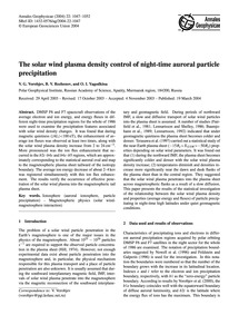 The Solar Wind Plasma Density Control of... by Vorobjev, V. G.