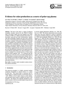 Evidence for Solar-production as a Sourc... by Pryse, S. E.