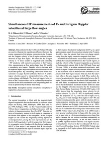 Simultaneous Hf Measurements of E- and F... by Makarevitch, R. A.