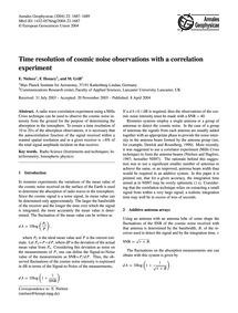 Time Resolution of Cosmic Noise Observat... by Nielsen, E.