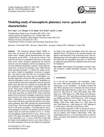 Modeling Study of Mesospheric Planetary ... by Mayr, H. G.