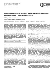 In Situ Measurements of Sub-meter Plasma... by Gupta, S. P.