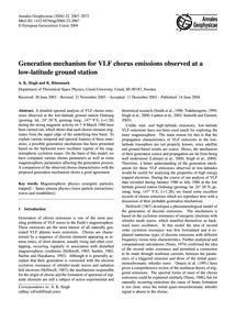 Generation Mechanism for Vlf Chorus Emis... by Singh, A. K.