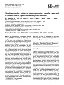 Simultaneous Observations of Magnetopaus... by McWilliams, K. A.