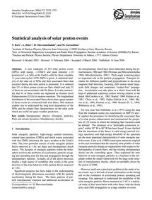 Statistical Analysis of Solar Proton Eve... by Kurt, V.