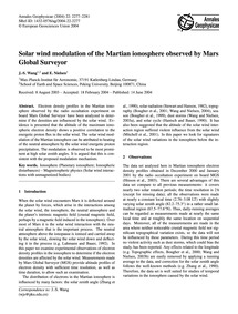 Solar Wind Modulation of the Martian Ion... by Wang, J.-s.