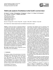 Multi-scale Analysis of Turbulence in th... by Volwerk, M.