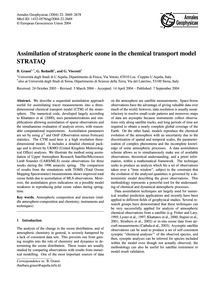 Assimilation of Stratospheric Ozone in t... by Grassi, B.
