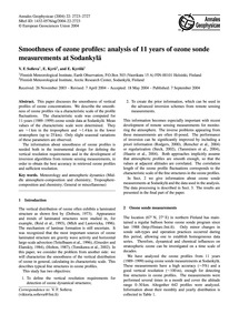 Smoothness of Ozone Profiles: Analysis o... by Sofieva, V. F.