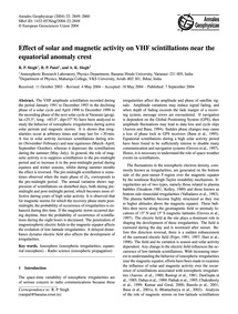 Effect of Solar and Magnetic Activity on... by Singh, R. P.