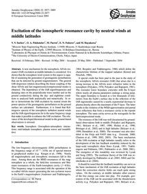 Excitation of the Ionospheric Resonance ... by Surkov, V. V.