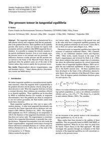 The Pressure Tensor in Tangential Equili... by Mottez, F.