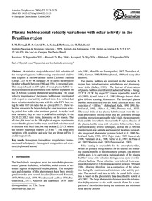 Plasma Bubble Zonal Velocity Variations ... by Terra, P. M.