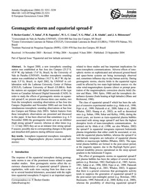 Geomagnetic Storm and Equatorial Spread-... by Becker-guedes, F.