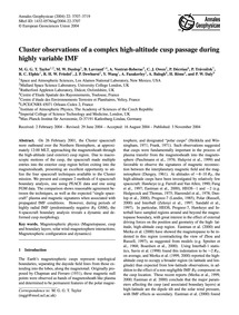 Cluster Observations of a Complex High-a... by Taylor, M. G. G. T.