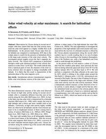 Solar Wind Velocity at Solar Maximum: a ... by Bavassano, B.