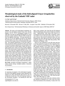 Morphological Study of the Field-aligned... by Pan, C. J.