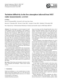 Turbulent Diffusivity in the Free Atmosp... by Wilson, R.
