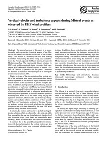 Vertical Velocity and Turbulence Aspects... by Caccia, J.-l.