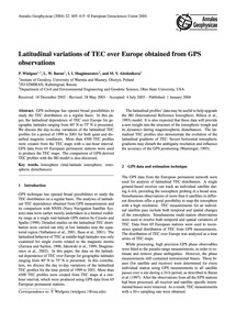 Latitudinal Variations of Tec Over Europ... by Wielgosz, P.
