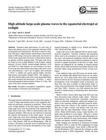 High Altitude Large-scale Plasma Waves i... by Chau, J. L.