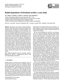 Radial Dependence of Foreshock Cavities:... by Sibeck, D. G.