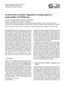 Local Wavelet Correlation: Applicationto... by Soucek, J.