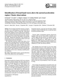 Identification of Broad-band Waves Above... by Backrud, M.