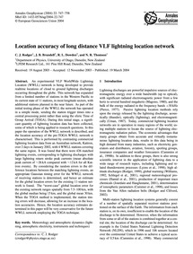 Location Accuracy of Long Distance Vlf L... by Rodger, C. J.