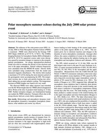 Polar Mesosphere Summer Echoes During th... by Barabash, V.