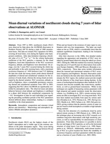 Mean Diurnal Variations of Noctilucent C... by Fiedler, J.