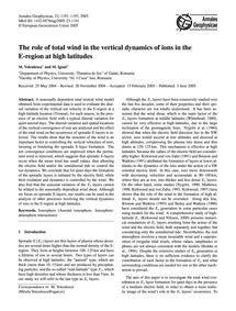 The Role of Total Wind in the Vertical D... by Voiculescu, M.