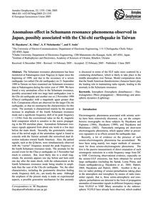Anomalous Effect in Schumann Resonance P... by Hayakawa, M.